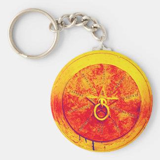 Porte - clé grunge abstrait d'étoile de l'anneau n porte-clé rond