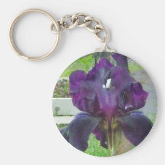 Porte - clé pourpre d'iris porte-clé rond