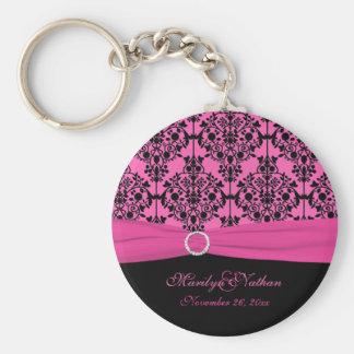 Porte - clé rose et noir de damassé porte-clé rond