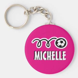 Porte - clé rose personnalisé de ballon de porte-clé rond