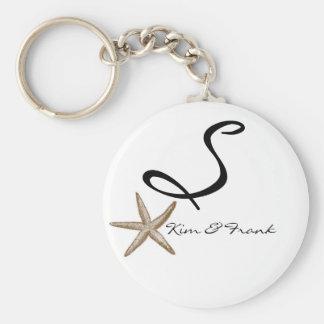 Porte - clé simple de monogramme d'étoiles de mer porte-clé rond