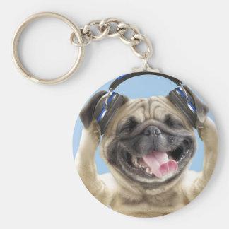 Porte-clés Carlin avec des écouteurs, carlin, animal familier