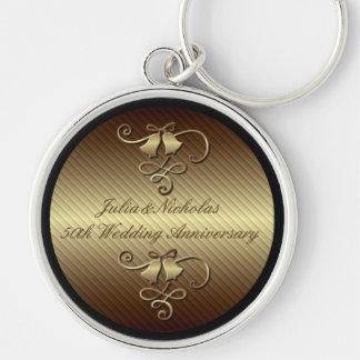 Porte-clés cinquantième Porte - clé d'or d'anniversaire de