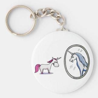 Porte-clés Corne une devant des miroirs - Unicorn dans