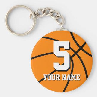 Porte - clés de basket-ball du numéro 5 | porte-clé rond