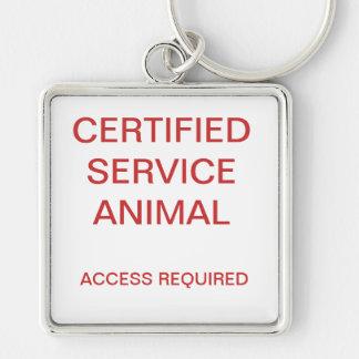 Porte-clés Étiquette de chien animale certifiée de service