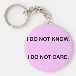 PORTE-CLÉS I DO NOT KNOW I DO NOT CARE