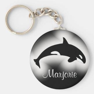 Porte-clés Nom noir et blanc d'épaulard d'orque
