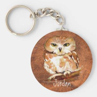 Porte-clés Oiseau de hibou d'aquarelle personnalisé par nom