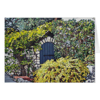 Porte de jardin bleue carte de vœux