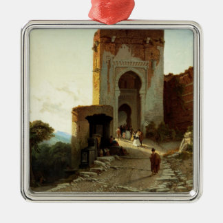 Porte de Justice, Alhambra, Granada (oil on canvas Silver-Colored Square Ornament