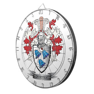 Porter Family Crest Coat of Arms Dartboard