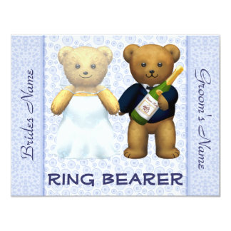 Porteur d'alliances - invitation bleu de mariage