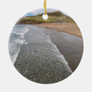 Porth Mawr Whitesands Bay Wales Round Ceramic Ornament