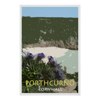 PORTHCURNO, CORNWALL Vintage Style Poster