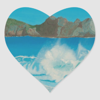 Porthcurno wave. heart sticker