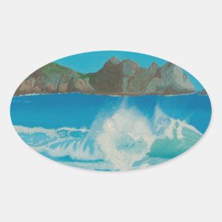 Porthcurno wave. oval sticker