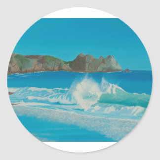 Porthcurno wave. round sticker