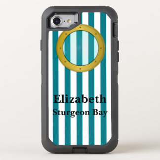Porthole Striped Nautical OtterBox Defender iPhone 8/7 Case