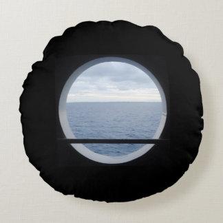 Porthole View Nautical Round Pillow