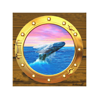 Porthole View of a Breaching Whale Canvas Print