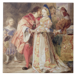 Portia and Bassanio, c.1826 (w/c, brown ink, bodyc Tile