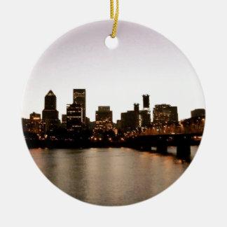 Portland Cityscape Ceramic Ornament