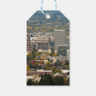 Portland Downtown Cityscape in Fall Season Gift Tags
