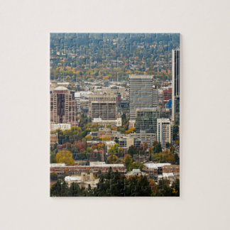 Portland Downtown Cityscape in Fall Season Jigsaw Puzzle