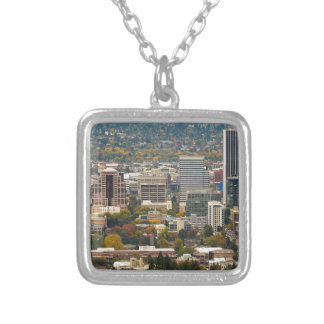 Portland Downtown Cityscape in Fall Season Silver Plated Necklace