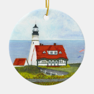 PORTLAND HEAD LIGHT by Brigid O'Neill Hovey Ceramic Ornament