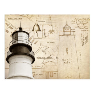 Portland Head Light measured drawings and plans Postcard