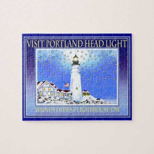 Portland Head Light Puzzel With Tin by Bonhovey Jigsaw Puzzle