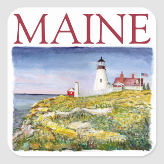 Portland Head Lighthouse Maine Watercolor Painting Square Sticker
