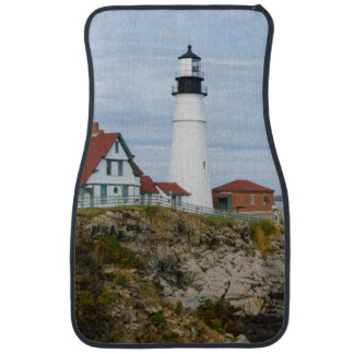 Portland Headlight lighthouse on rocky shore Car Mat