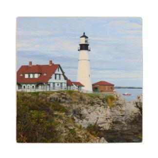 Portland Headlight lighthouse on rocky shore Wood Coaster