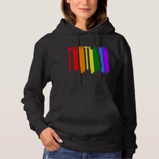 Portland Maine Gay Pride Rainbow Skyline Hoodie