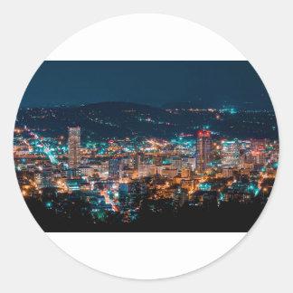 Portland Night Skyline Classic Round Sticker