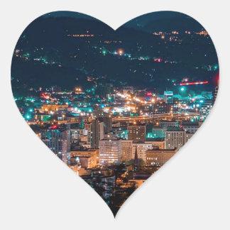 Portland Night Skyline Heart Sticker