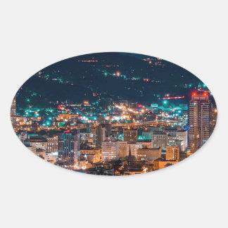Portland Night Skyline Oval Sticker