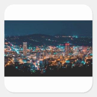 Portland Night Skyline Square Sticker