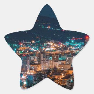 Portland Night Skyline Star Sticker
