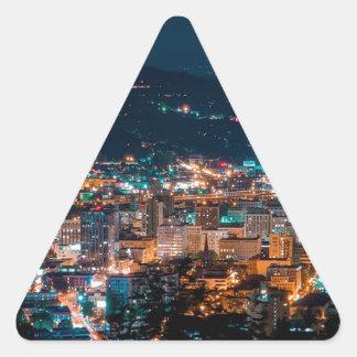 Portland Night Skyline Triangle Sticker