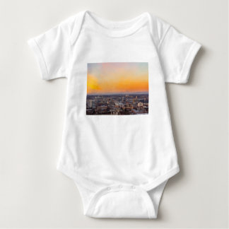 Portland OR Cityscape and Mt Saint Helens sunset Baby Bodysuit