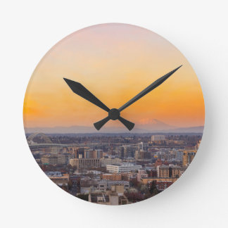 Portland OR Cityscape and Mt Saint Helens sunset Round Clock