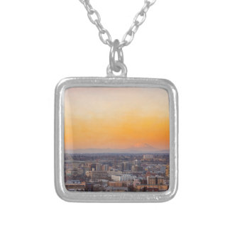 Portland OR Cityscape and Mt Saint Helens sunset Silver Plated Necklace