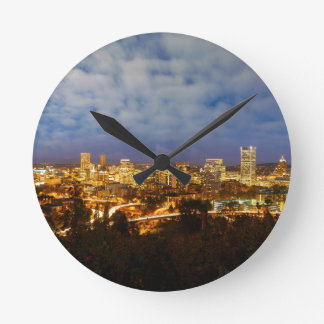 Portland OR Cityscape at Blue Hour Round Clock