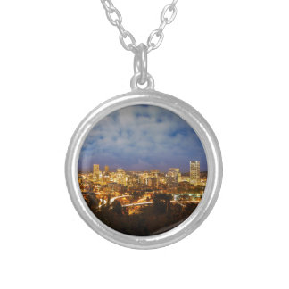 Portland OR Cityscape at Blue Hour Silver Plated Necklace