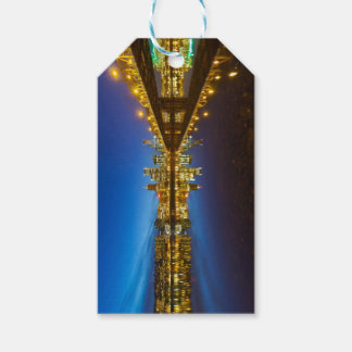 Portland OR Downtown city skyline Blue Hour Gift Tags