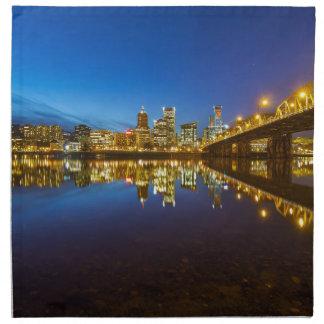 Portland OR Downtown city skyline Blue Hour Napkin